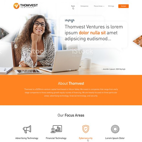 Create a new website design for a Venture Capital firm
