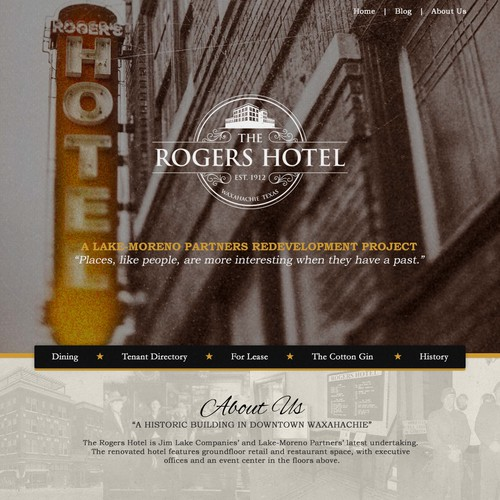 Design a homepage for the historic, re-purposed Rogers Hotel