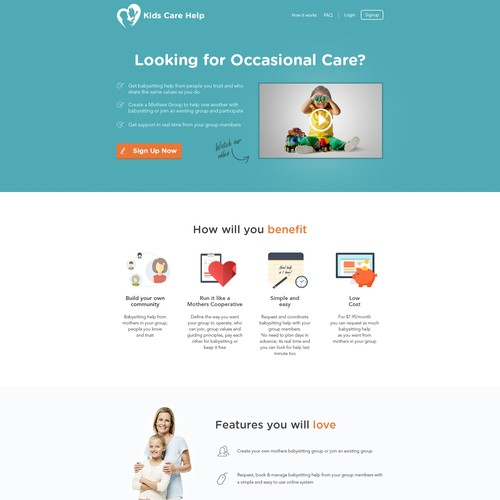 Design a modern ,fresh looking yet simple landing page design for a Online Childcare Platform