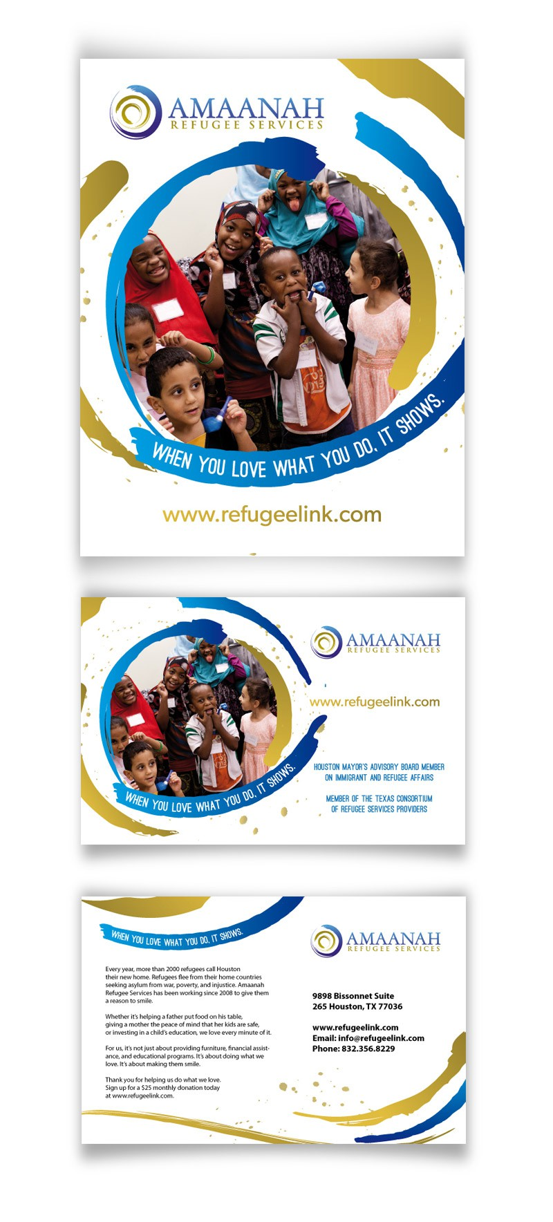 Create the next print or packaging design for Amaanah Refugee Services