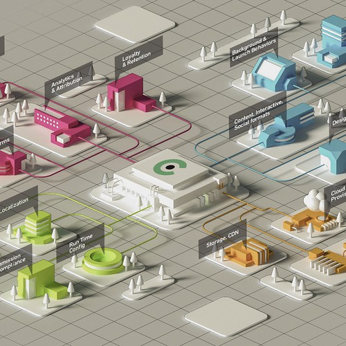 infographic town isometric style
