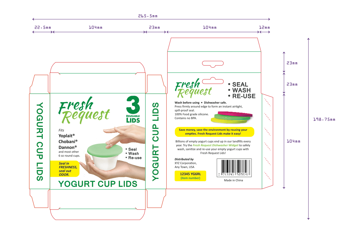 Package label / branding for proprietary food container lids