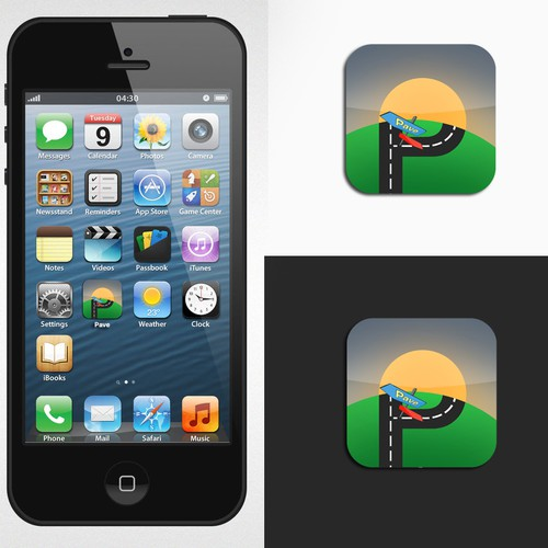 iPhone app icon flat design for Pave