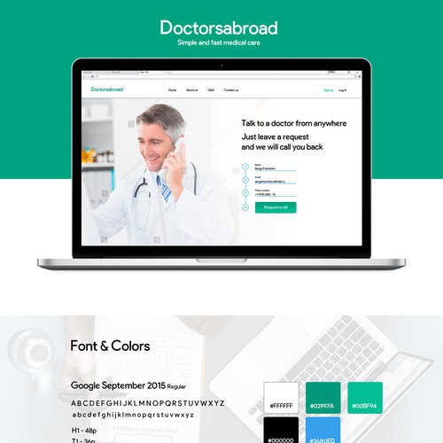 Landing page for medical consultation company