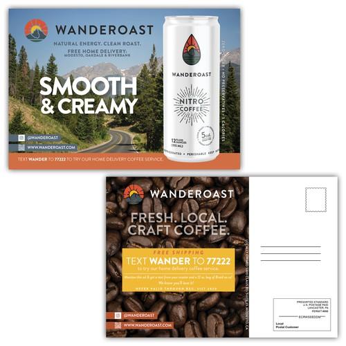 Postcard design for coffee company