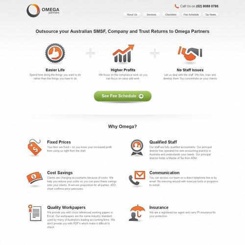 website design for Omega Partners