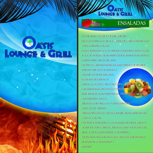 Create a memorable tasting Menu for OASIS LOUNGE & GRILL