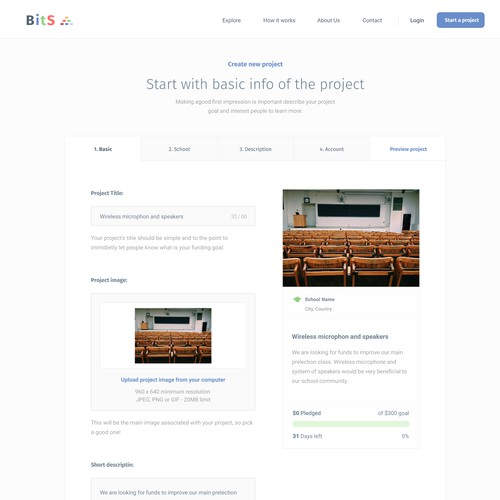 BitS crowdfunding platform - project creation