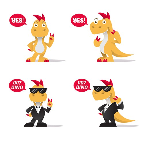 Character Design: Hip Dinosaur Mascot for a mobile App