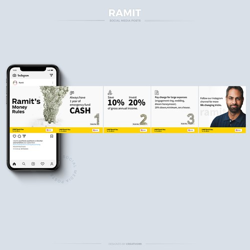 Flawless Instagram Carousel post design for Ramit