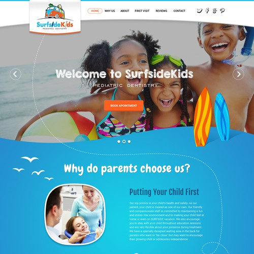 Web page design for Pediatric dental practice