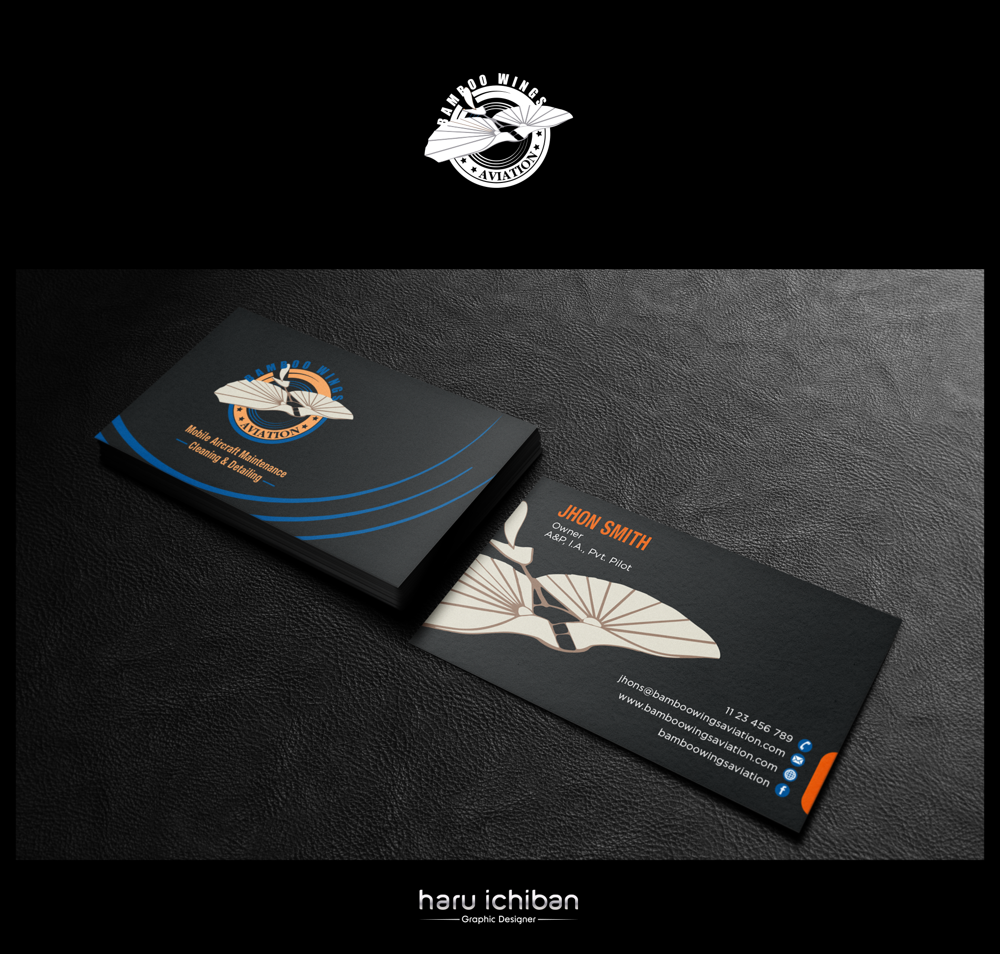 Design a new business card for an aviation maintenance/cleaning detailing business
