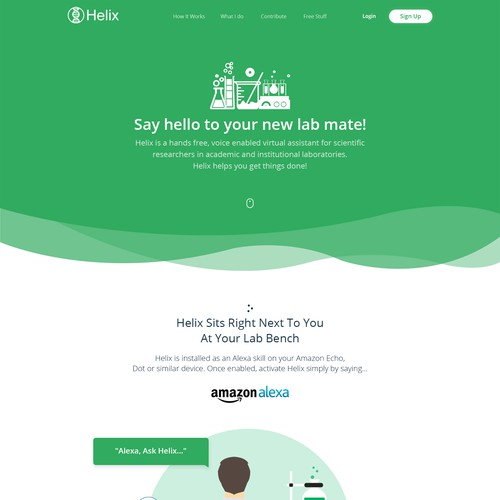 Landing Page Design for Voice Enabled Science/Lab Personal Assistant
