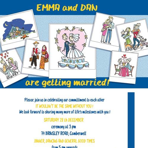 Help Dan and Emma's wedding with a new card or invitation