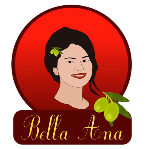 Logo for Bella Ana Olive Oil / Aceite de Oliva. Brief in english and spanish