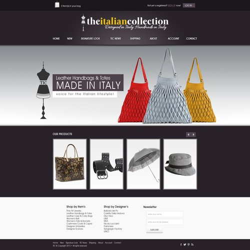 The Italian Collection needs a new website design