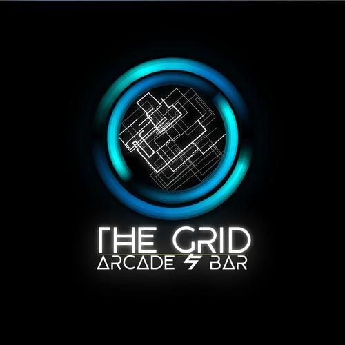 arcade & bar futuristic logo