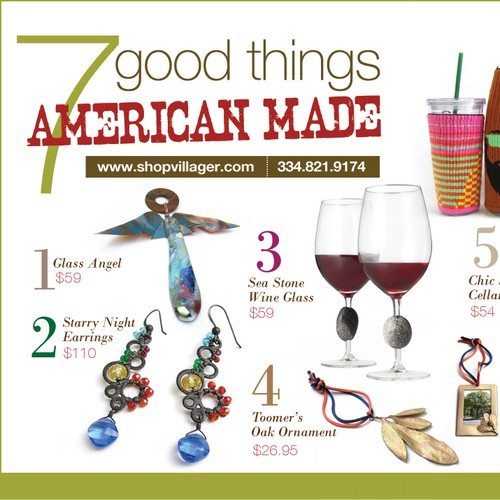 Ad layout for Gallery of American Craft