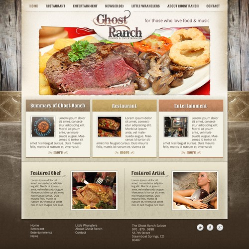 New website design for Ghost Ranch -Dinning and Entertainment