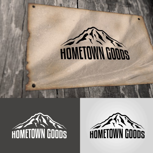 Create and be a part of the 'HomeTown Goods' clothing logo.