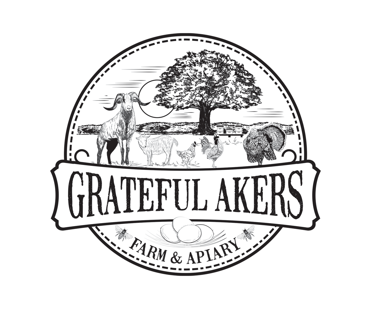 Grateful Akers logo in black/white