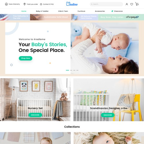 Modern Baby Furniture Store website Redesign.