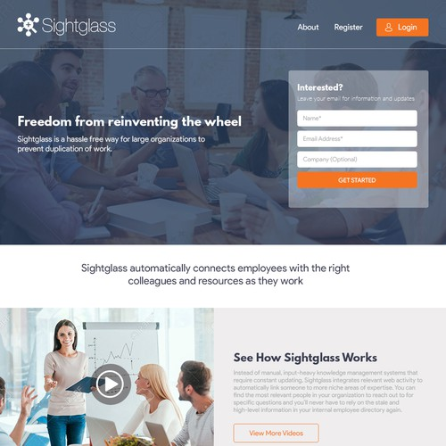 Landing Page  Design for - Sightglass