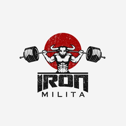 Strong weight lifting beast logo