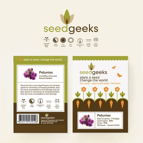 Clean & modern seed packet design for a new heirloom seed company