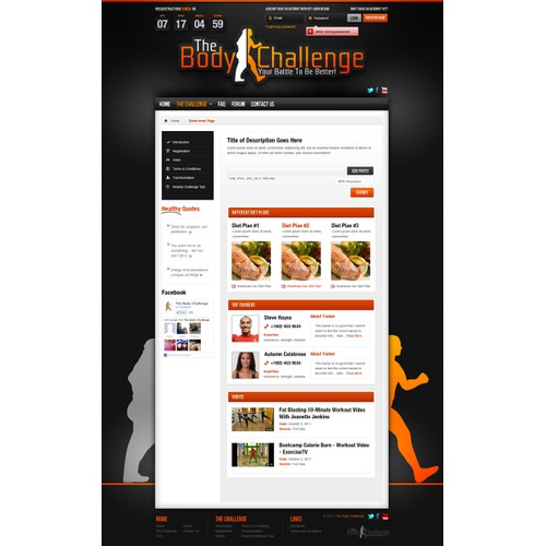 website design for The Body Challenge