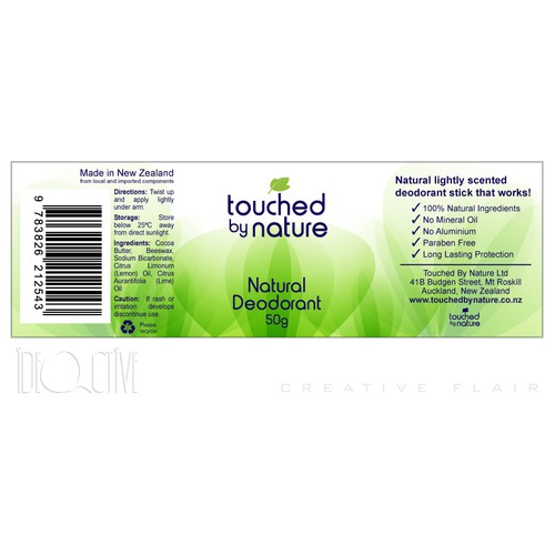 New product label wanted for Touched By Nature Ltd