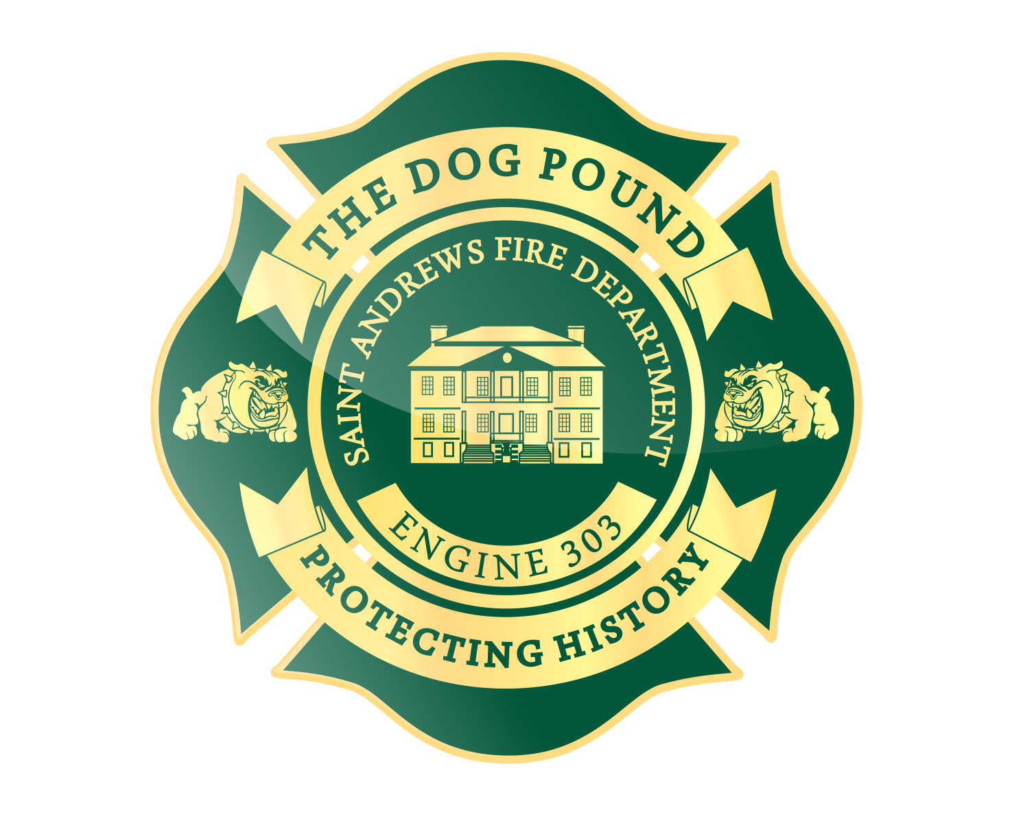 Create the next logo for Saint Andrews Fire Department or SAFD, Engine 303, The Dog Pound Protecting History