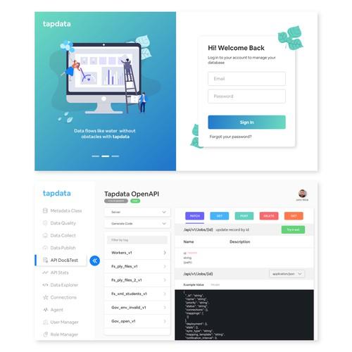 UI design for a data processing cloud