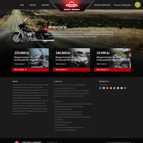 Create visually INSPIRING, powerful website for Swedens largest Motorbike & RV dealer!