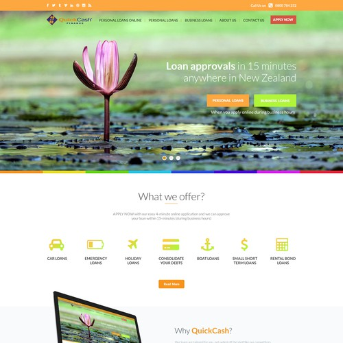Webpage design for QuickCash Finance