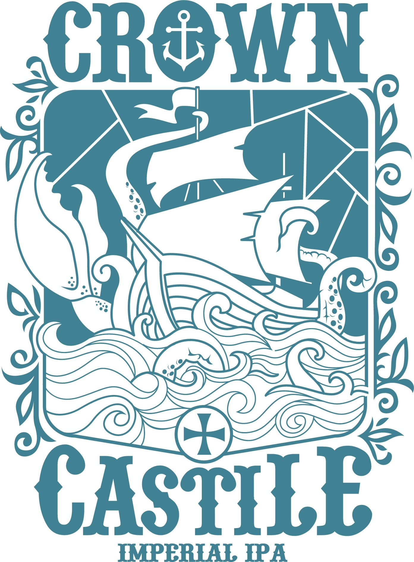 Design a mosaic or stained glass Ship/Boat beer bottle design for a t-shirt
