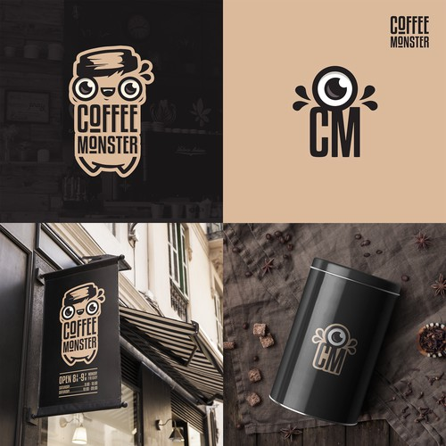 Coffee monster logo concept