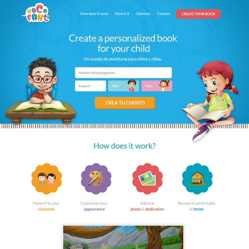 Ecommerce website design for personalized books for children