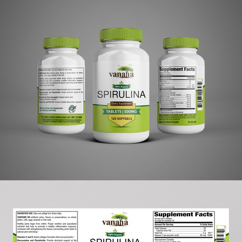 SPIRULINA Dietary Supplement Label