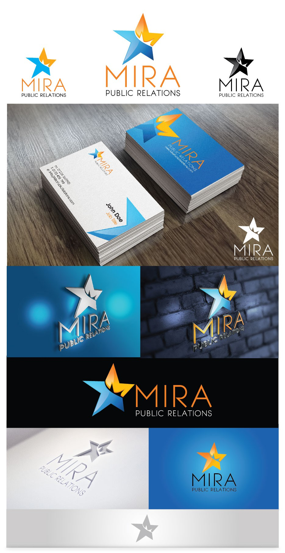logo and business card for MIRA Public Relations