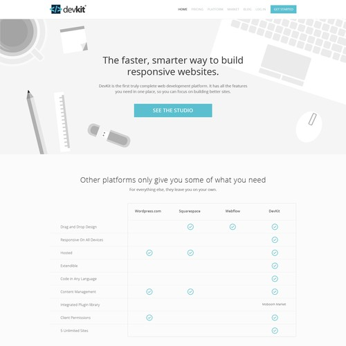Create a responsive website for DevKit, a Moboom Product.