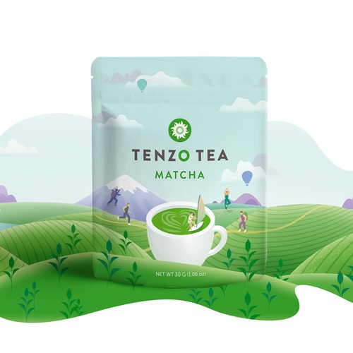 Product packaging design. Matcha tea pouch design with custom illustration.