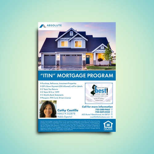 A professional and standout flyer for Absolute Home Mortgage Corp