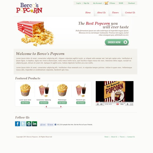 Website for a popcorn production company