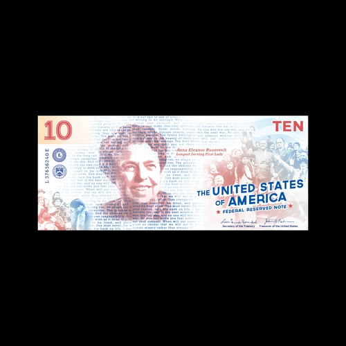 10 US Dollar Design Featuring Eleanor Roosevelt