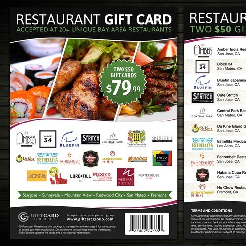 Design Flyer for the Restaurant Gift Card - Content PSD attached