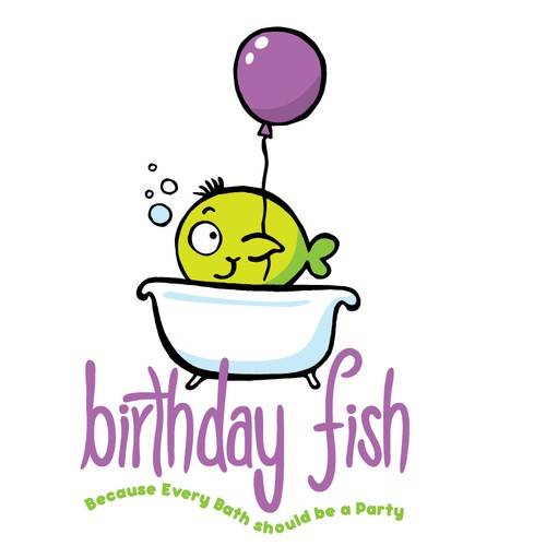 Create a  fishy mascot for Birthday Fish Bath Products