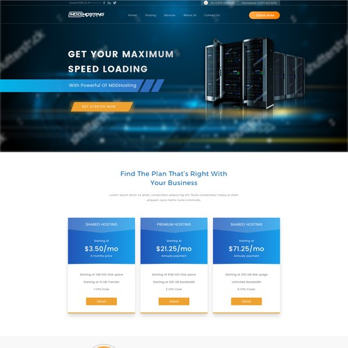 Homepage for MDDHosting service
