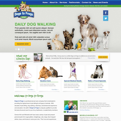 Dogs to Frogs needs a new website design