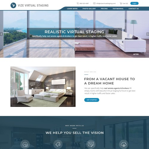 homepage for vize virtual staging